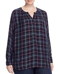 Lucky Brand Plus Girlfriend Plaid High Low Shirt Green Multi
