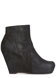 Rick Owens Black Suede Wedge Ankle Boots