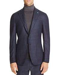 Eidos Tonal Check Slim Fit Sport Coat Navy Blue Dark Indigo
