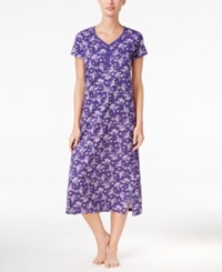 Charter Club V Neck Henley Style Printed Nightgown Only At Macy's Purple Floral