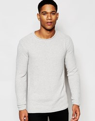 Solid Knitted Waffle Jumper Grey