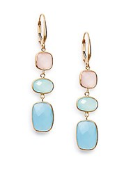 Saks Fifth Avenue 14K Yellow Gold Sky Blue Sea Blue And Pink Chalcedony Drop Earrings Gold Multi