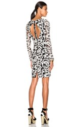 Alice Olivia Katy Open Diamond Back Dress In Black Floral White
