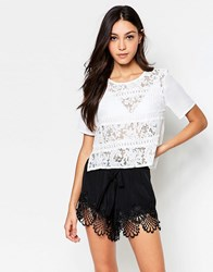 Girls On Film Lace Top White