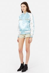Mademe Pretty On The Inside Satin Jacket Baby Blue White