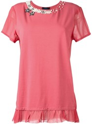 Twin Set Pearl Embellished T Shirt Pink And Purple