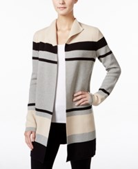 Charter Club Petite Striped Open Front Cardigan Only At Macy's Pearl Combo