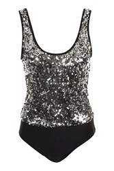 Jaded London Silver Sequin Festival Body By