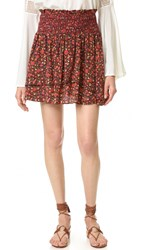 The Kooples Hippy Flower Print Ruffle Skirt Red