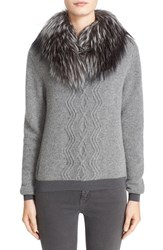 Moncler Women's Wool And Cashmere Sweater With Removable Genuine Fox Fur Collar