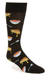 Hot Sox Men's 'Grilled Cheese And Tomato Soup' Socks Black