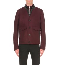 The Kooples Leather Trim Wool Blend Jacket Light Kaki
