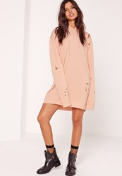 Missguided Ripped Hooded Sweater Dress Nude Beige