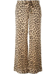 Equipment By Kate Moss Leopard Print Wide Leg Trousers Nude And Neutrals