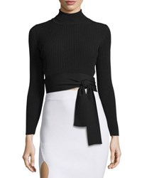 Cushnie Et Ochs Ribbed Tie Waist Mock Neck Top Black