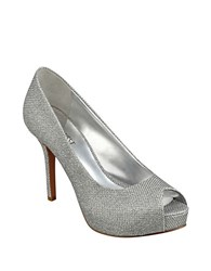 Nine West Qtpie Peep Toe Pumps Silver