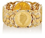 Mahnaz Collection Vintage Women's Gold And Blue Sapphire Coin Bracelet C Colorless