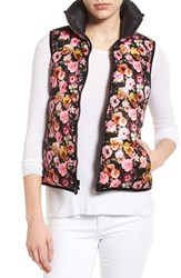 Women's Betsey Johnson Floral Print Quilted Vest Onyx