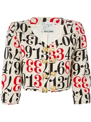 Moschino Vintage Number Print Cropped Jacket Nude And Neutrals
