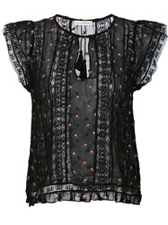 Ulla Johnson Printed Peasant Blouse Black