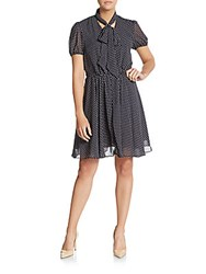 Betsey Johnson Polka Dot Chiffon Dress Navy White