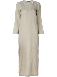 Bassike Side Slit Maxi Dress Nude And Neutrals