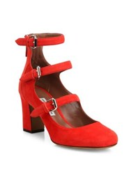 Tabitha Simmons Ginger Triple Strap Suede Mary Jane Pumps Poppy Red