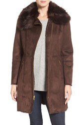 Cole Haan Signature Women's Faux Shearling Coat With Faux Fur Trim Brown