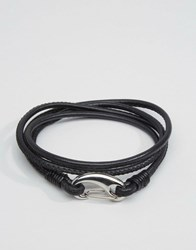 Seven London Leather Wrap Bracelet In Black Black
