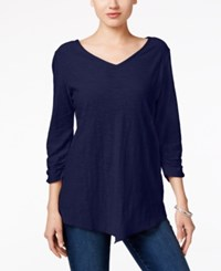 Styleandco. Style Co. V Neck Handkerchief Hem Top Only At Macy's Industrial Blue