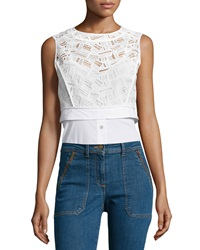 Veronica Beard Lace Shirting Combo Top Off White