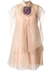 Delpozo Embellished Dress Pink And Purple