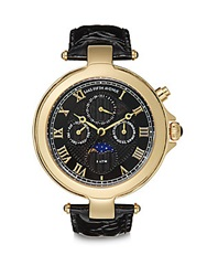 Saks Fifth Avenue Goldtone Round Stainless Steel And Black Patent Leather Watch