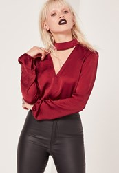 Missguided Hammered Satin Choker Neck Cropped Blouse Burgundy