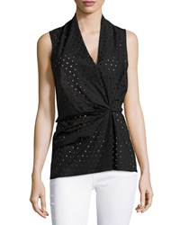 Natori Laser Cut Sleeveless Blouse Black
