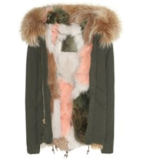 Mr And Mrs Italy London Mini Fur Lined Cotton Parka With Fur Trimmed Hood Green