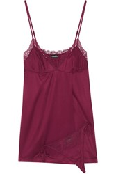 La Perla Charisma Lace Trimmed Modal Blend Jersey Chemise And Thong Set Merlot