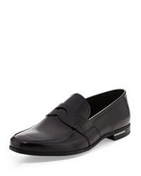 Prada Shiny Penny Loafer Black