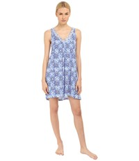 Oscar De La Renta Pima Cotton Chemise Blue Diamond Grid Women's Pajama