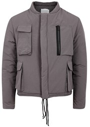 Adyn Military Taupe Shell Bomber Jacket Grey