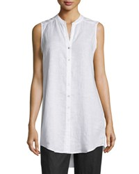 Eileen Fisher Sleeveless Organic Linen Button Front Tunic Petite White