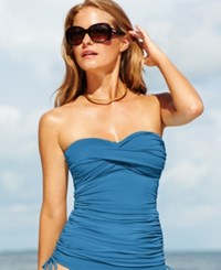 Anne Cole Twist Front Ruched Tankini Top Women's Swimsuit Sky Blue