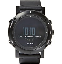 Suunto Essential Stainless Steel And Leather Digital Watch Black