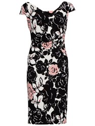 Gina Bacconi Floral Print Textured Jersey Dress Coral