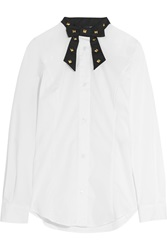 Love Moschino Bow Embellished Studded Cotton Blend Poplin Shirt White