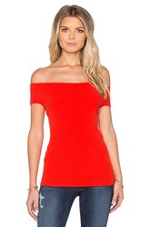 525 America Off Shoulder Rib Tee Red