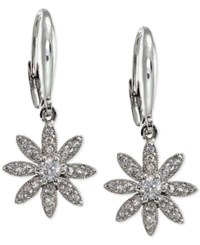 Macy's Giani Bernini Cubic Zirconia Pave Flower Drop Earrings In Sterling Silver Only At