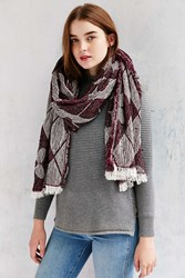 Urban Outfitters Stitched Chenille Blanket Scarf Plum