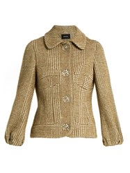 Simone Rocha Flower Button Sparkle Hound's Tooth Jacket Khaki