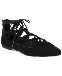 Mia Anamarie Lace Up Pointed Toe Flats Women's Shoes Black Suede